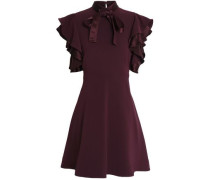 Pussy-bow silk satin-trimmed crepe dress
