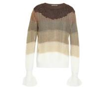 Ruffled metallic striped pointelle-knit top
