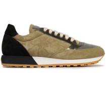 Bead-embellished Suede Sneakers Sage Green