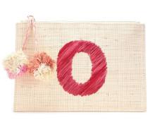 Woman Pompom-embellished Straw Pouch Beige