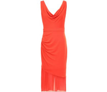 Chiffon-paneled Draped Stretch-crepe Dress Bright Orange