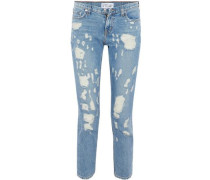 Cropped distressed mid-rise slim-leg jeans