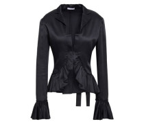 Ruffled Satin-crepe Jacket Charcoal