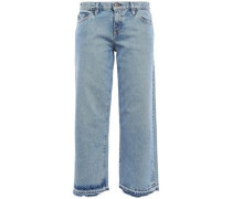 Kara Cropped Frayed Mid-rise Straight-leg Jeans Light Denim  9