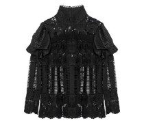 Metallic chiffon-paneled ruffled guipure lace top