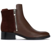 Suede-paneled leather ankle boots