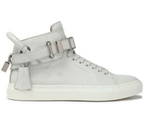 Patent-leather high-top sneakers
