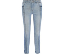 Margaux Two-tone Mid-rise Skinny Jeans Light Denim  5