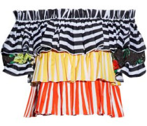 Pandora off-the-shoulder lace-trimmed striped cotton-poplin top