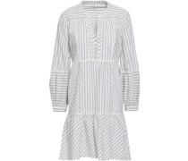 Crochet-trimmed Striped Cotton-blend Poplin Mini Dress White