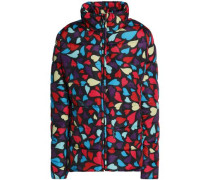 Printed quilted shell down jacket