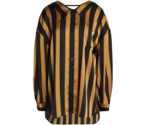 Draped striped satin shirt