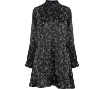 Pussy-bow floral-print silk-satin mini dress