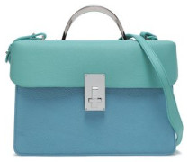 Embellished color-block textured-leather shoulder bag