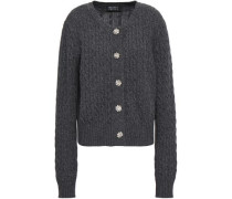 Crystal-embellished Cable-knit Wool Cardigan Anthracite