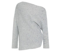 Off-the-shoulder Marled Wool And Cashmere-blend Sweater Stone
