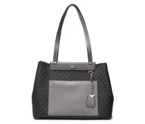 Printed Faux Textured-leather Tote Black Size --