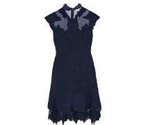 Jersey and tulle-trimmed corded lace mini dress