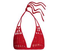Macramé-paneled triangle bikini top