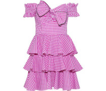 Helena Off-the-shoulder Tiered Gingham Cotton-poplin Mini Dress Magenta