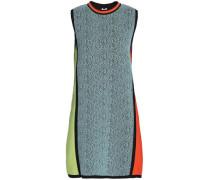 Jacquard-paneled knitted mini dress