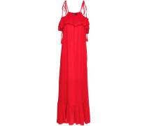 Tasseled ruffled voile maxi dress