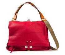 Woman Logo-appliquéd Textured-leather Shoulder Bag Red