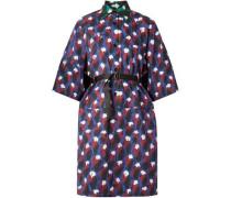 Oversized Belted Printed Cotton-poplin Mini Dress Indigo