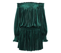 Peasant Off-the-shoulder Velvet Mini Dress Emerald