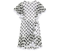 Ruffle-trimmed polka-dot silk-blend chiffon mini dress