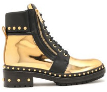 Studded Mirrored-leather Ankle Boots Gold
