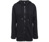 French Cotton-blend Terry Hooded Sweatshirt Black