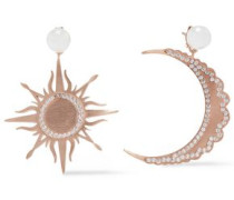 Moon And Sun Brushed 18-karat Rose Gold-plated, Faux Pearl And Crystal Earrings Rose Gold Size --