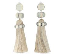 Silver-tone Moonstone Tassel Clip Earrings Silver Size --