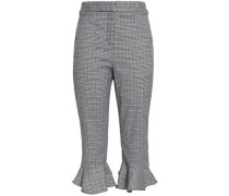 Cropped Prince of Wales crepe tapered pants