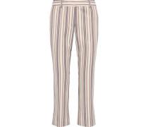Cropped Striped Cotton-blend Twill Kick-flare Pants Ecru