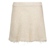 Stoney Frayed Woven Cotton-blend Mini Skirt Ecru