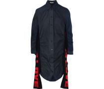 Raven Jacquard Knit-paneled Checked Cotton-poplin Mini Shirt Dress Navy