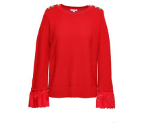 Embroidered Cotton-paneled Wool And Cashmere-blend Sweater Red Size 1