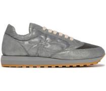 Bead-embellished Metallic Suede Sneakers Gray