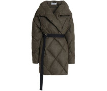 Quilted Brushed Wool-blend Down Coat Army Green