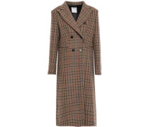 Woman Double-breasted Checked Wool-blend Coat Camel