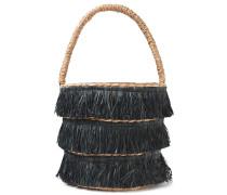 Woman Lolita Mini Fringed Woven Straw Tote Black