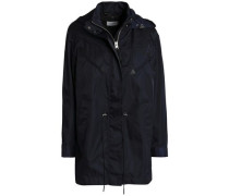 Leather-trimmed Shell Hooded Jacket Navy Size 0