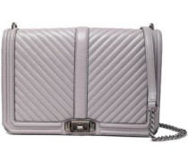 Quilted Leather Shoulder Bag Gray Size --