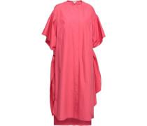 Oversized Tie-detailed Cotton-poplin Midi Dress Pink