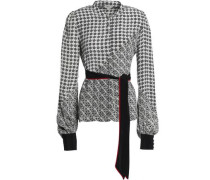 Belted Printed Silk Blouse Off-white