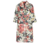 Floral-print fil coupé coat