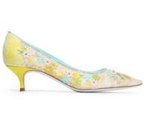 Floral appliquéd lace pumps