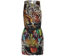 Wrap-effect printed silk-chiffon mini dress